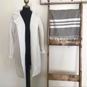 GAP White Chunky Knit Long Cardigan Open Sweater